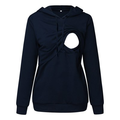 Hoodies Maternity Long Sleeve Hooded Nursing Tops Casual Solid Breastfeeding Pullover Sweatshirt