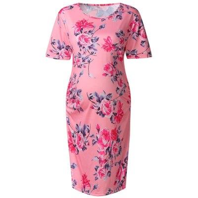 Print Round Neck Short Sleeve Slim Fit Dress Robe Casual Maternity Dresses
