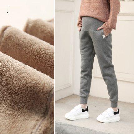 Loose Maternity Solid Sports Pants For Pregnant Women Clothes Cotton Hallen Velvet Pants Pregnancy Autumn Winter Casual Clothing
