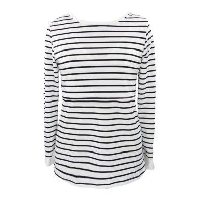 Maternity Tshirt Women Mom Pregnant Nursing Baby Long Sleeved Stripe Tops Maternidad Ropa Lactancia Breastfeeding T Shirt