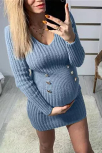 V-neck Women's Knitted Maternity  All-match Warm Loose Casual Sweater