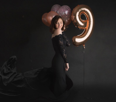 Black Lace  Long Sleeve Maxi Off-the-Shoulder Maternity Photography Maternity Dress