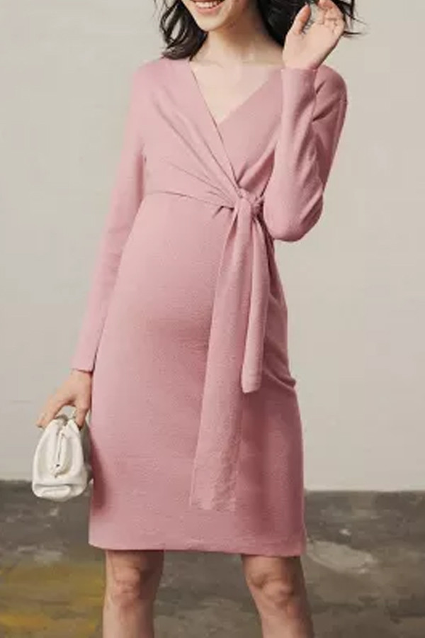 Autumn pink maternity dress party dress for pregnant women V-neck knit robe plus size belt