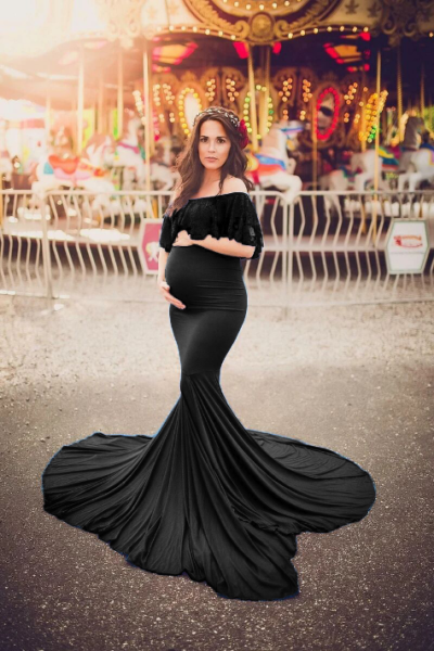 Off-the-shoulder Maternity Maxi Dress for pregnant Photography Dress