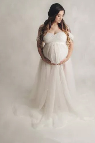 Maternity Photography Props Bodysuits and Tulle Skirt Sets Maternity Photo Shoot Outfit Tutu Skirt Jumpsuits Sets for Photograhy