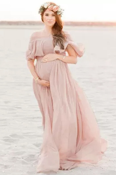 Women Maternity Dress Pleated Shoulder Short Sleeve Dress Photo Photography Dress Long Skirt Pink