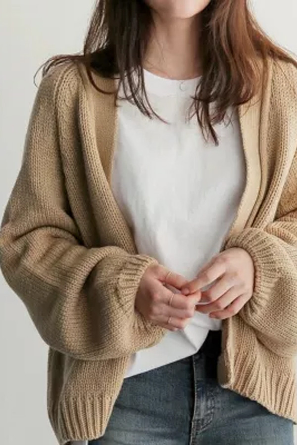Autumn Chic Women Cardigans Sweater Long Sleeve Loose Plus Size Girls Knitted Short Coat