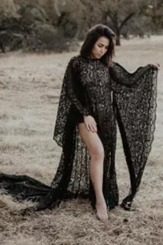 Maternity Black Lace long Sleeve Maxi Dress for Photo Shoot