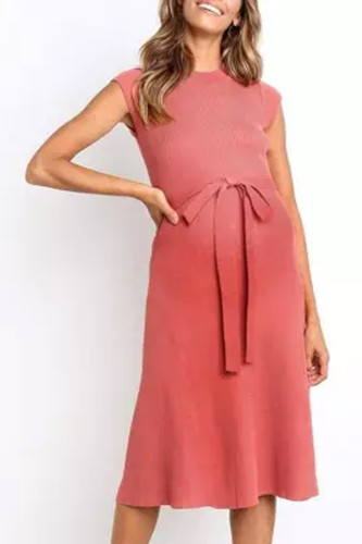 Maternity Casual Pure Color Belted Dress