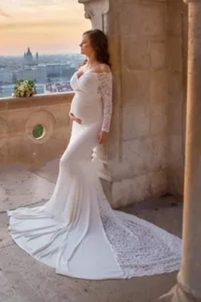 2021 Maternity long sleeve big taill Maternity Maxi Dress for pregnant Photography