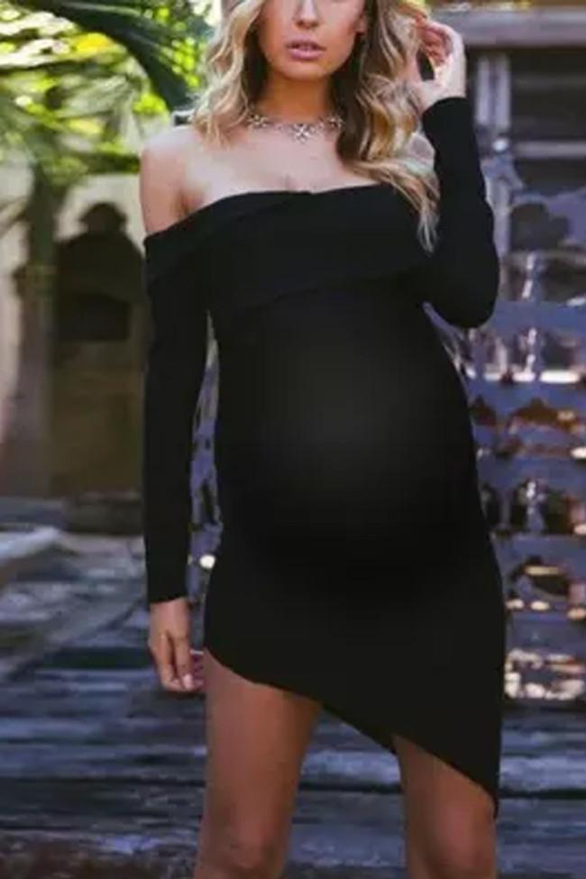 Maternity One-Necked Strapless Bag Hip Dress