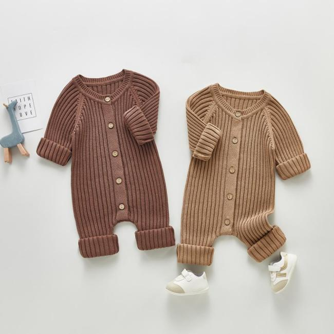 2021 Baby Clothing Brief Style Toddler Boys Jumpsuits Infant Girls Knitwear Single Breast Baby Outerwear