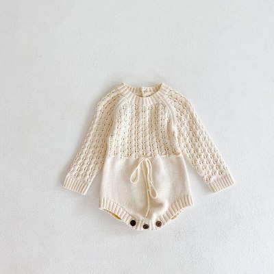 2021 Spring New Baby Bodysuits Toddler Girls Knit One Piece Hollow Out Infant Girls Jumpsuits