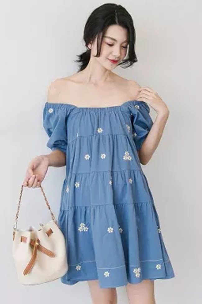 Embroidered Denim Blouse Short Sleeve Square Collar Plus Size  Maternity Dress