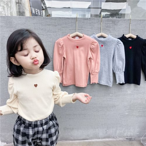 MILANCEL 2021 Spring  Kids Clothes Puff Sleeve Girls Blouse Heart Print Base Shirt for Girl Kids Tops