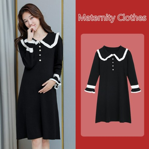 Autumn Winter Black Knitted Maternity Sweaters Dress Elegant Bottoming Dress Clothes for Pregnant Women