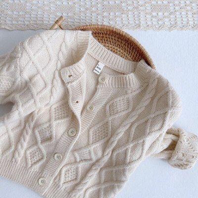 2021 New Kids Clothes  Brief Style Girls Sweaters Casual Boys Cardigans Spring New Girls Knit Wear