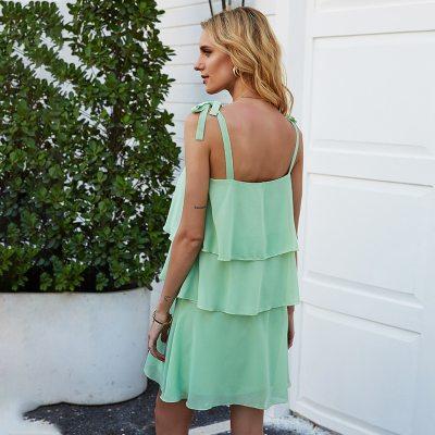 2020 New Summer Sleeveless Spaghetti Strap Dress Women Casual  Slash Neck Cascading Ruffle Solid Knee-length Dress