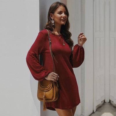 Knitted Women Above Knee Length Full Sleeve Dresses Sweet Solid Casual Women Dress