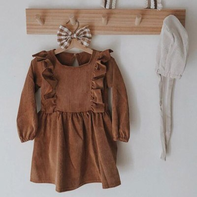 2021 Spring New Girls Clothes Ruffle Sleeve Dress for Girls Corduroy Kids Clothing