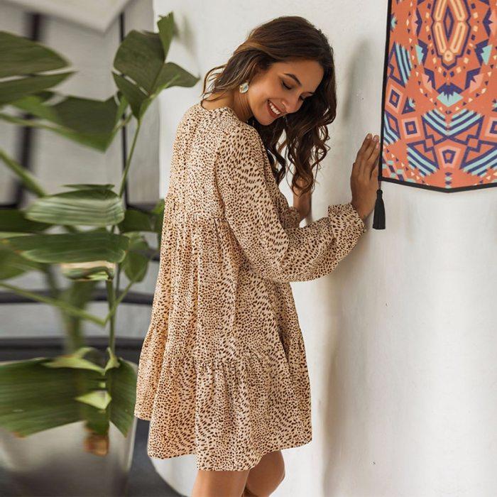 Sexy Leopard Print Dress Women Casual Autumn Winter V Neck Ruffles High Waist Mini Dress
