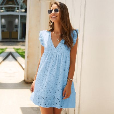 Solid Hollow Out Short Dress Women New Sexy V Neck Butterfly Sleeve Hollow Lace Dress