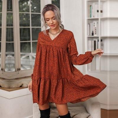 Autumn Winter Ruffles A-line Dress Women Casual V Neck Print Above Knee Dress For Women