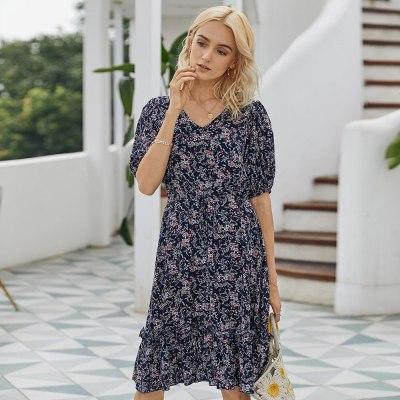 New Casual Summer Print Dress Women V-neck Half Sleeve High Waist Knee-length Dress