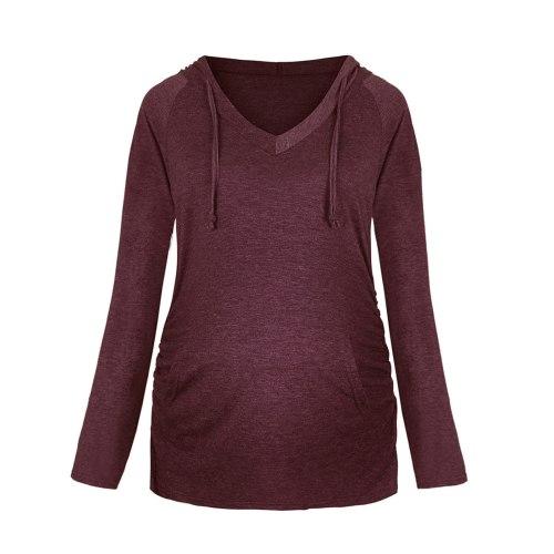 Fashion pregnancy Maternity Clothes Women Casual Long Sleeve V neck Hoodie Sweatshirts Top Maternity Sweatshirt