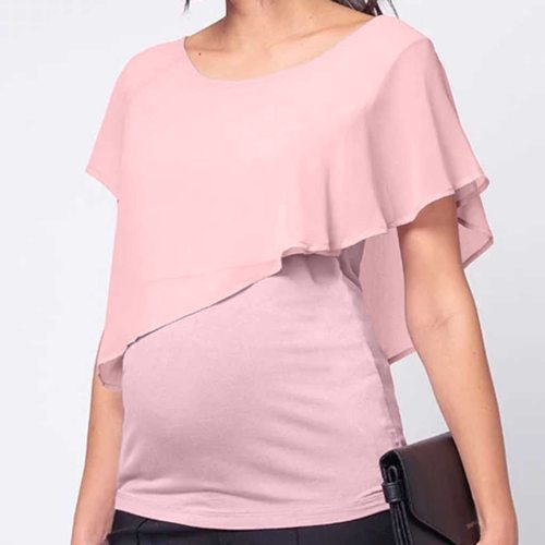 Breastfeeding Clothes Loose Women's Maternity Nursing Wrap Double Layer Short Sleeve Pregancy Blouse T Shirt For Pregnant Women
