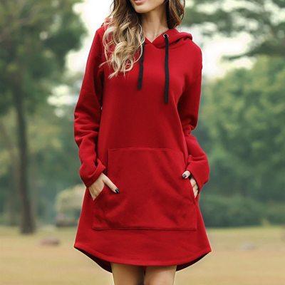 Vintage Women Hooded Dress Full Sleeve Loose Casual Sweatshirt Dress Red OverSize Autumn Ladie Pocket Female Long Hoody Dresses