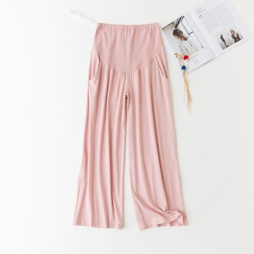 Summer Cotton Maternity Pants For Pregnant Women Adjustable Waist Loose Leg Casual Homewear Maternity Yoga Pants Plus Size