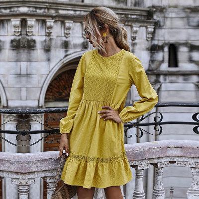 Autumn Winter Casual Lace Patchwork Long Sleeve Dress Women O-neck Ruffles Solid Knee-length Dress