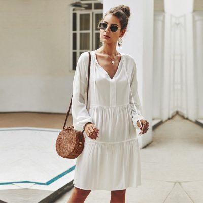 Spring Summer Lace Up Dress Women Full Sleeve V-neck Mid-calf Solid Dress