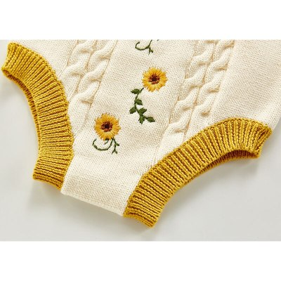 2021  Spring New Baby Clothes Set Embroidery Toddler Girls Knitwear Baby Pullover and Knit Bloomer 2 pcs Todderl Suit