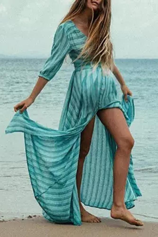 Maternity Casual Cotton 3/4 Sleeve Stripe Floor-Length Dress