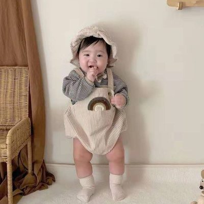 2021 Spring Baby Bodysuits Corduroy Girls Clothing Rainbow Print Toddler Girls One Piece Boys Jumpsuit