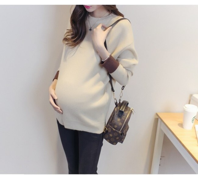 Autumn and winter new dress knit maternity sweater casual fashion solid color long-sleeve shirt base pregnant women sweater