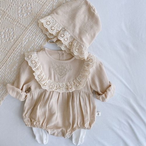 2021 New Baby Bodysuit Lace Style Toddler Girls One Piece with Hat Long Sleeve Infant Outfit