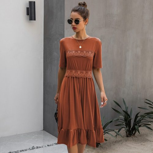 New Spring Summer Dress Women Lace Casual O-neck Solid High Waist Knee-length Dress