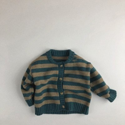 2021 Spring Kids Sweaters Striped Boys Cardigans Single Breast Kids Pullover