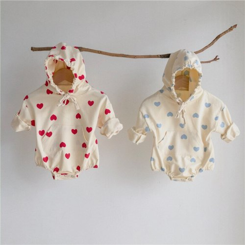 2021 Spring  Baby Bodysuit Newborn Baby Clothes Heart Print Toddler Girls Suit Long Sleeve Baby One piece