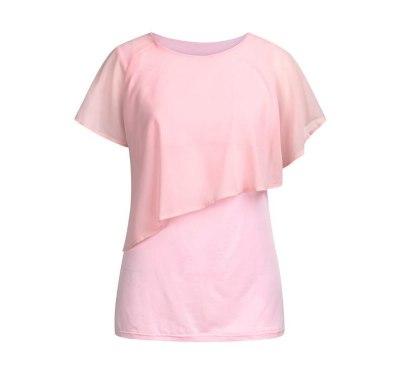 Breastfeeding Clothes Loose Women's Maternity Nursing Wrap Double Layer Short Sleeve Pregancy Blouse T Shirt For Pregnant Women