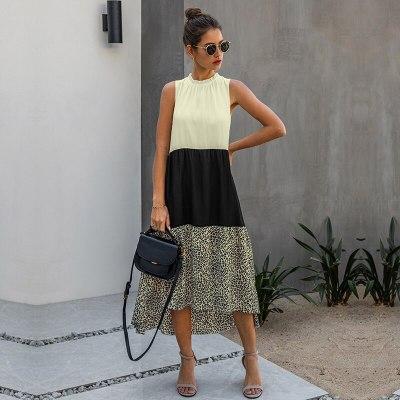 2020 New Fashion Summer Loose Ruffled Patchwork Dress Women Casual Sleeveless Dress