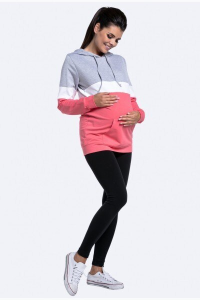 Fashion multi-function mother breastfeeding sweater women's multi-color stitching long-sleeved Tops for breastfeeding