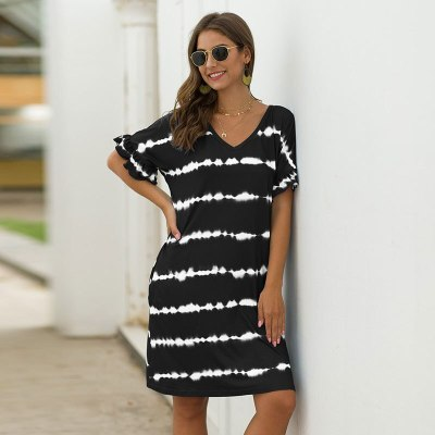 Summer Loose Above Knee, Mini Short V-neck Striped Streetwear Natural Regular