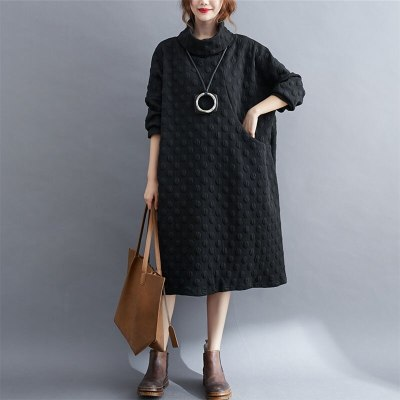 Cotton Dresses New Simple Style Turtleneck Solid Color Loose Ladies Knee-length Dress