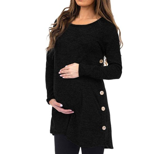 Women's Maternity Clothes Pregnanty Top Long Sleeve Solid Button Tops Black Blouse Autumn Winter Schwangerschafts