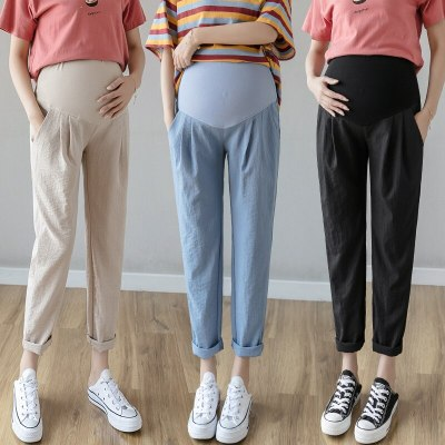 Summer Thin Cotton Linen Maternity Pants Belly Casual Straight Loose Pants Clothes for Pregnant Women Pregnancy Trousers