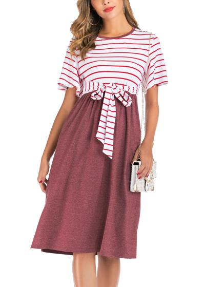 Women's Summer Casual Striped Maternity Dress Short Sleeve Knee Length Pregnancy Dresses Clothes Pleated Baby Shower Dress